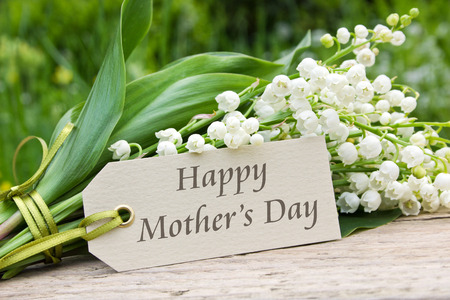 Mother s day card with Lily of the valley Stock Photo