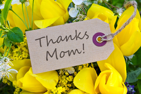 Mother s day card with yellow tulips Stock Photo
