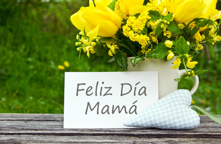 Mother s day card with yellow tulips Standard-Bild