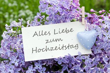 anniversaire mariage: allemand carte d'anniversaire de mariage de lilas Banque d'images