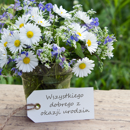 Polish Birthday Card With Wildflowers And Label Stock Photo Picture