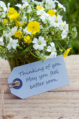 get well: english get well card with wildflowers Stock Photo