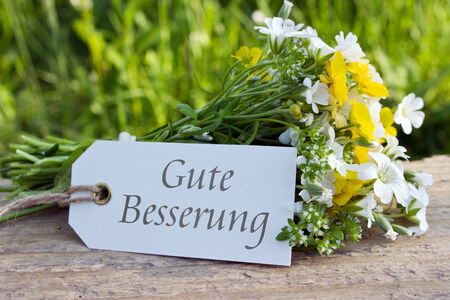 german get well card with wildflowers