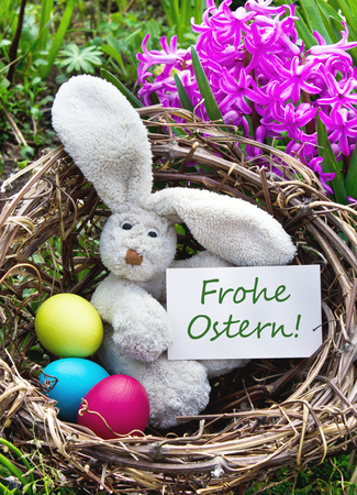 german Easter card with easter bunny photo