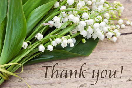 English Greeting card with lettering thank you and Lily of the valley photo