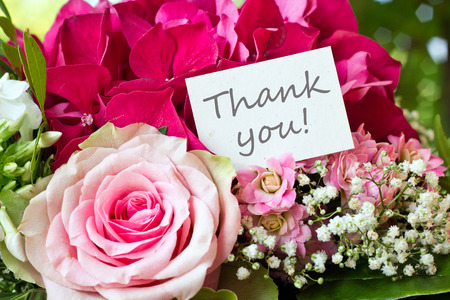 Bouquet with pink rose and lettering thank you photo