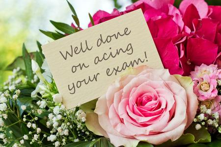 Englisch-Grußkarte mit rosa Blüten Standard-Bild