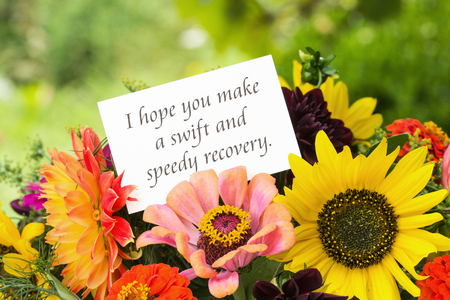 get well: English greeting card with summer flowers