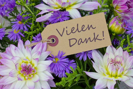 German greeting card with dahlia and asters photo