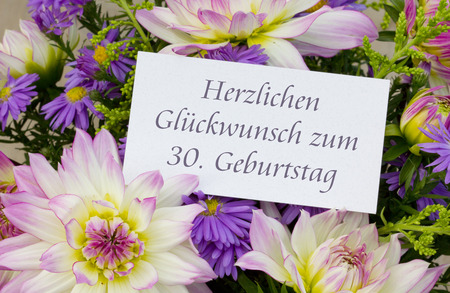 German Birthday card with dahlia and asters