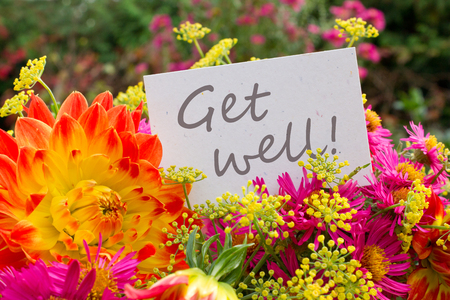 get well: english greeting card with dahlia and asters