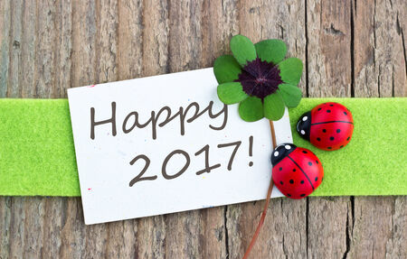 leafed: english New year card with Leafed clover and ladybugs