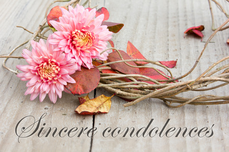 english mourning card with chrysanthemus and autumn leaves