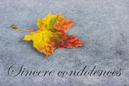 english mourning card with autumn leaves photo