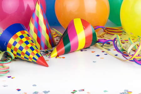 party balloons: Balloons, streamers, confetti and party hats Stock Photo