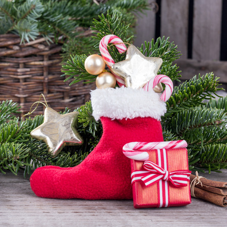 red sock with gifts and stars