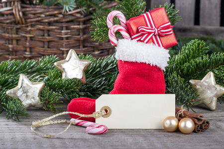 red sock with gifts and stars photo