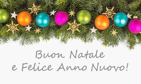Italian christmas card with christmas baubles fir branches stock italian christmas card with christmas baubles fir branches golden stars and text merry christmas m4hsunfo