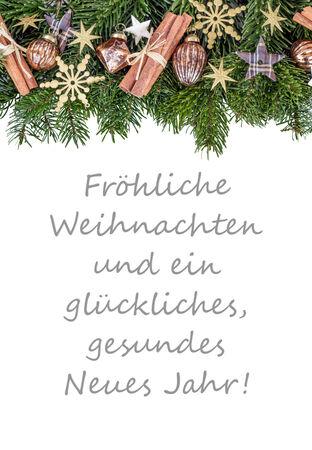 독일 크리스마스 카드 크리스마스 싸구려, 전나무 분기, 별 및 텍스트 메리 크리스마스 당신과 모든 건강, 행복과 새해에 번영을 기원합니다.