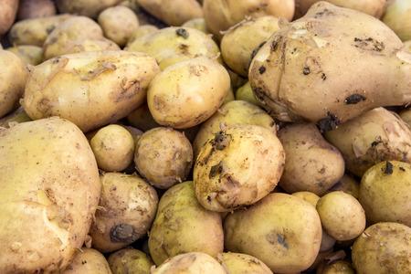 Display with fresh potatoes