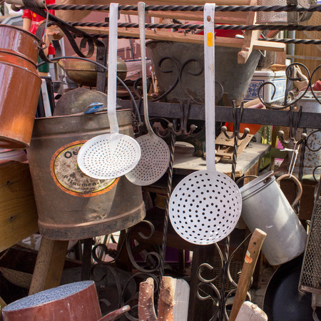 antique booth: Various old kitchen utensils