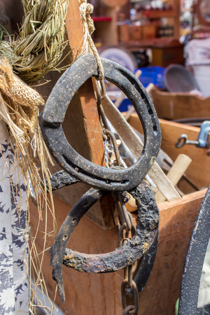 flea market: old horseshoes on a flea market