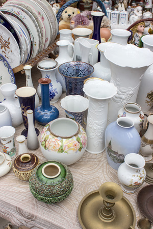 antique dishes: Many different old vases and plates Stock Photo