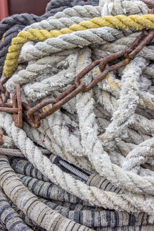 metal chain: several ship ropes and metal chain
