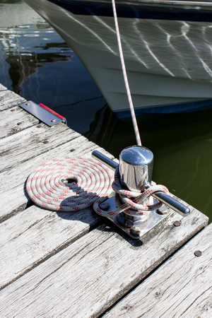cleat: rope secured to a cleat on the dock