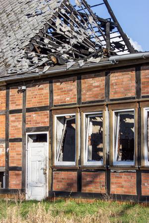 tudor: A destroyed by fire Tudor style house