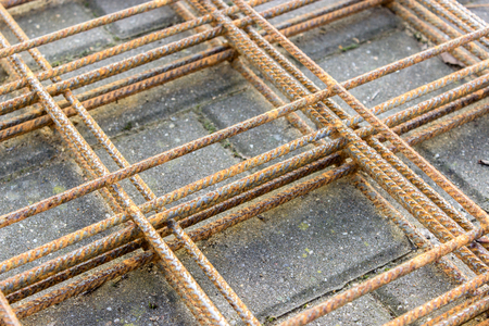 weathered: weathered steel mesh Stock Photo