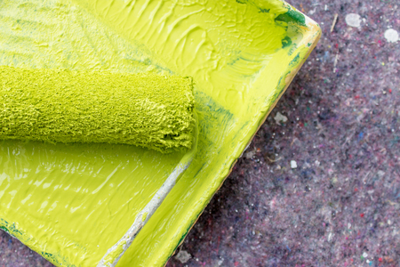 redecorate: Paint roller and paint tray with light green color