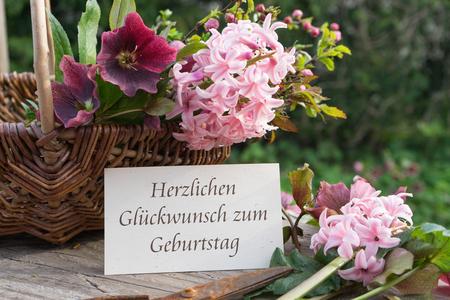 hyacinths: German-language birthday card with hyacinths and hellebores