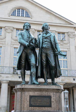 Monument to Goethe and Schiller before the national theater in Weimar Editorial