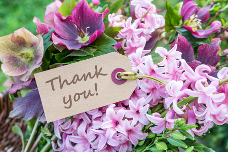 English greeting card with hyacinths and the text: Thank you Stock Photo