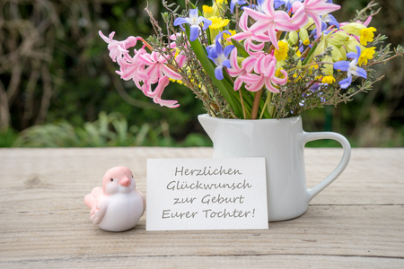 German Greeting Card for birth with text: Congratulations on the birth of your daughter