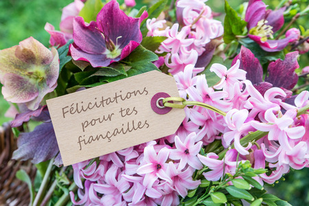 French greeting card with hyacinths and the text: Congratulations on your engagement Stock Photo