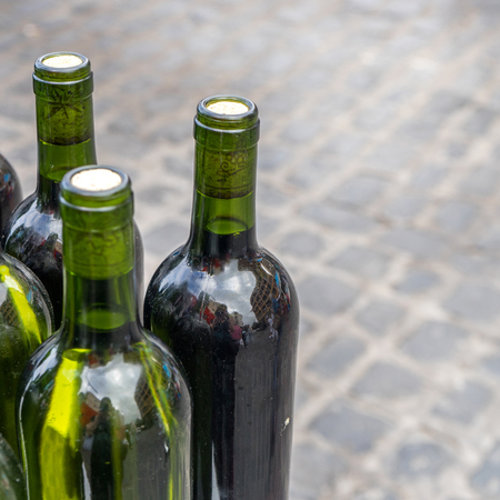 wine road: Green bottles with white wine