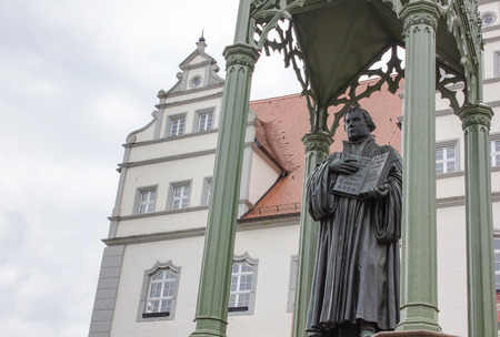 Sculpture of the reformer Martin Luther in Wittenberg Stock Photo