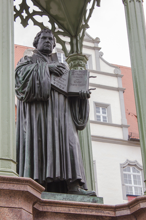 Sculpture of the reformer Martin Luther in Wittenberg Editorial