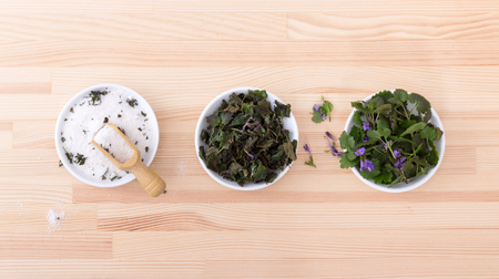 field mint: Porcelain bowls with herbal salt, fresh and dried ground ivy