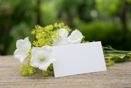 ladys mantle: White bell flowers, ladys mantle and card Stock Photo