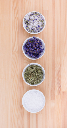 Herb salt with rosemary and lavender blossoms