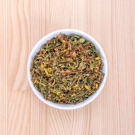 Bowl of dried St. Johns wort