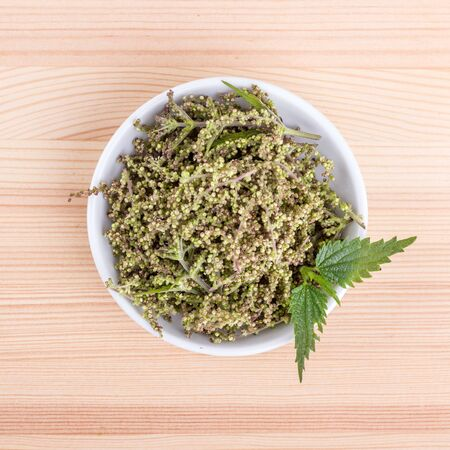 Bowl with fresh nettle and nice nettle leaves