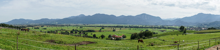 Panoramic view of the Alps and meadows in Bavaria, Germany