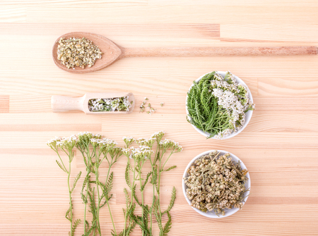 Top view of two spoons of fresh and dried flowers and leaves on a wooden background