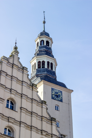 Clock tower of the city hall Gardelegen, Germany Standard-Bild