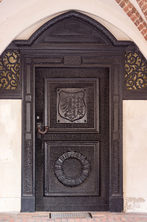 Historic wooden door of the city hall Gardelegen, Germany