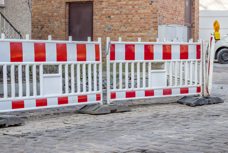 Construction site with barrier on a road Standard-Bild